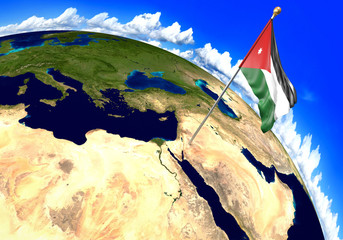 Jordan national flag marking the country location on world map. 3D rendering, parts of this image furnished by NASA