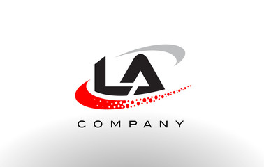 LA Modern Letter Logo Design with Red Dotted Swoosh