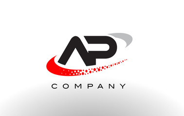 AP Modern Letter Logo Design with Red Dotted Swoosh