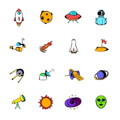 Space icons set cartoon