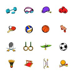 Sports equipment icons set cartoon