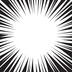 Comic book black and white radial lines background. Manga speed frame design element. Graphic explosion vector illustration.