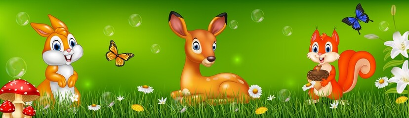 Cartoon deer, squirrel and rabbit with nature background