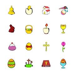 Easter set icons set cartoon