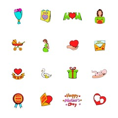 Mothers Day icons set cartoon