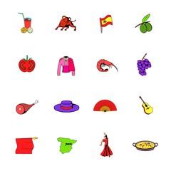Spain icons set cartoon