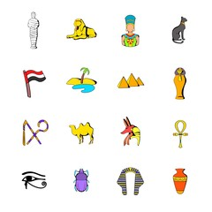 Egypt icons set cartoon