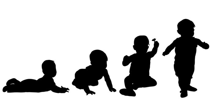 Vector, isolated, silhouette collection child up to a year