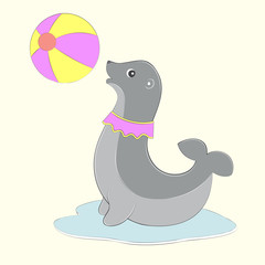Fur seal playing with ball