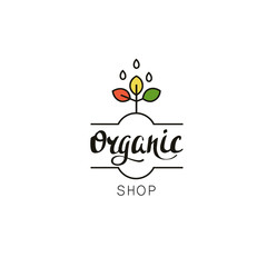 Organic shop logo template. Eco badge with handwritten text and plant in linear style.