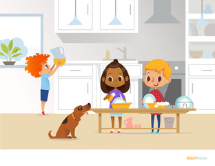 Children cleaning up kitchen. Two multiracial kids washing dishes and boy putting pitcher with drink on table on background. Useful home activities concept. Vector illustration for flyer, website.