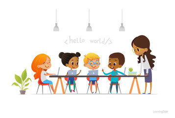 Happy children sitting at laptops and learning programming during school lesson, smiling teacher standing near them. Coding for kids concept. Vector illustration for website, advertisement, poster.