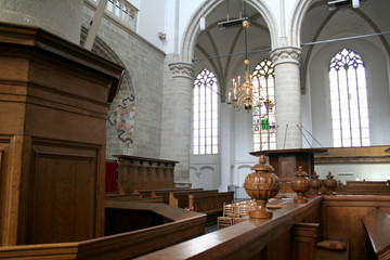 Interior of the Saint Catherijne kerk in f the old historic fortress Brielle