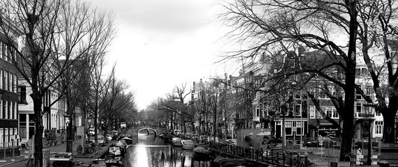 Amsterdam panorama in black and white