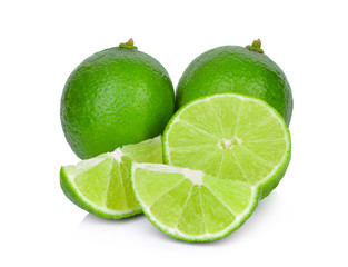 fresh green lime with slice isolated on white