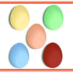 крашенные яйца на белом фоне, векторная иллюстрация