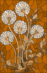 Illustration in stained glass style flower of blowball ,brown tone , Sepia,
