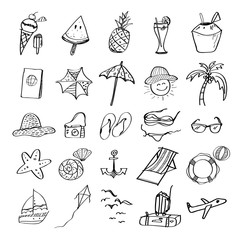 Hand drawn set of vector symbols and objects for summer beach