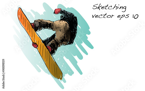 e6b354f2928d sketch of Snow board man riding
