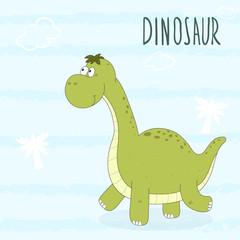 Cute hand drawn dinosaur illustration. vector print