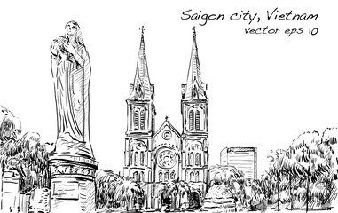 Sketch cityscape of  Ho Chi Minh city show Saigon Notre-Dame Cathedral Basilica, illustration vector