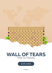 Israel. Wall of tears. Time to travel. Travel poster. Vector flat illustration.