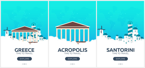 Photo sur Plexiglas Vert corail Greece. Time to travel. Set of Travel posters. Vector flat illustration.