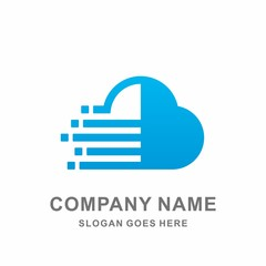 Cloud Arrow Pixel Digital Speed Data Link Connection Technology Computer Business Company Stock Vector Logo Design Template