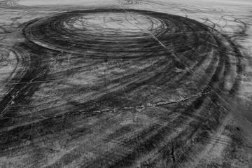 Car drift skid marks