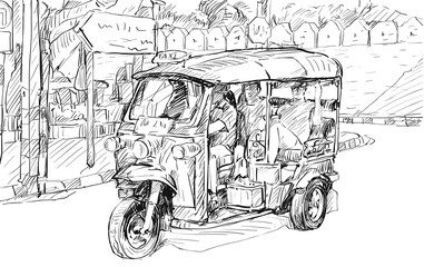 Sketch cityscape of Chiangmai, Thailand, show local motor tricycle Tuk on street, illustration vector