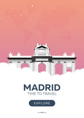 Spain. Madrid. Time to travel. Travel poster. Vector flat illustration.