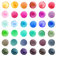 Set of colorful watercolor circles isolated on white.