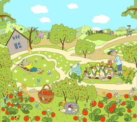 Child illustration. Summer picture in the garden, in the country, on the nature. Warm day, fly butterflies, growing strawberries.