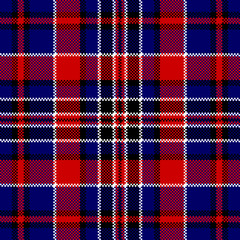 Blue red check square pixel seamless pattern