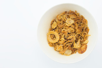 fried onion isolate on white background.