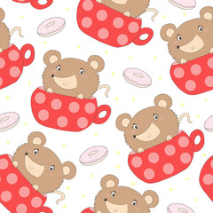 Cute seamless pattern with funny cup and mouse. vector illustration.