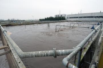 Industrial sewage treatment plant tanks