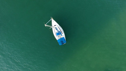 Top View of Boat in Ocean