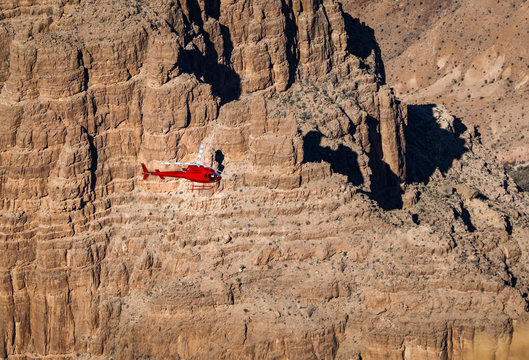 Helicopter flying over Grand Canyon West Rim - Arizona, USA