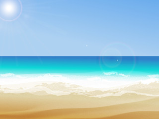 Summer background, vector illustration of the day at the beach t with sea waves, ans sun shining, seaside view with copyspace