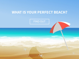 Summer background, vector illustration of the day at the beach with sea waves, ans sun shining, seaside view with copyspace. Travel advertisment banner with umbrella