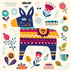 Mexican pattern with decorative donkey