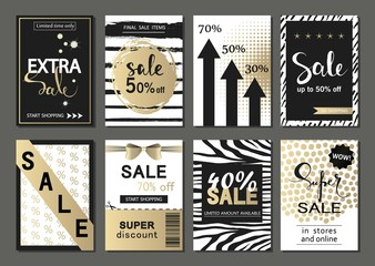 Big Set of social media sale . Vector banners, posters, flyers, email, newsletter, ads, promotional material. Typography discount card design.
