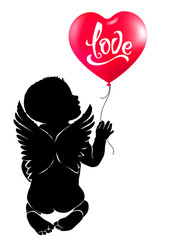 Silhouette baby angel with red heart balloon Love.