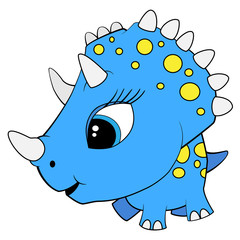 Cartoon Blue Baby Triceratops Dinosaur