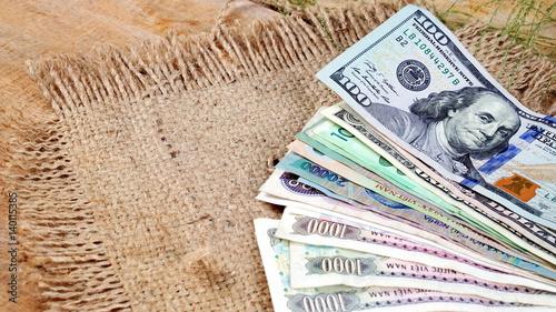 Us Dollars Korean Won Euro Bills And Some Money