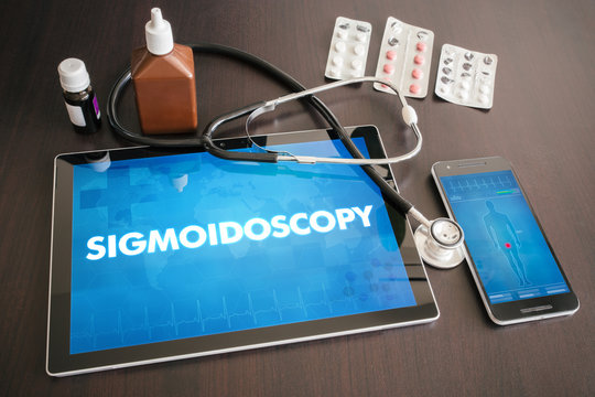Sigmoidoscopy (gastrointestinal disease related) diagnosis medical concept on tablet screen with stethoscope