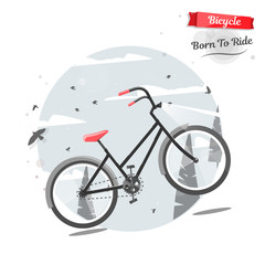 Cycling concept. Bicycle in nature. Vector bright illustration of Bike. Trendy style for graphic design, logo, Web site, social media, user interface, mobile app.