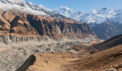 Panoramic view of the glacier arising from the circus Annapurna - Nepal, Himalayas