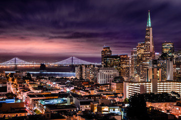 Night over San Francisco Downtown and Bay Bridge from Ina Coolbrith Park, USA